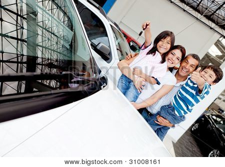 Happy family with their new car t the dealer