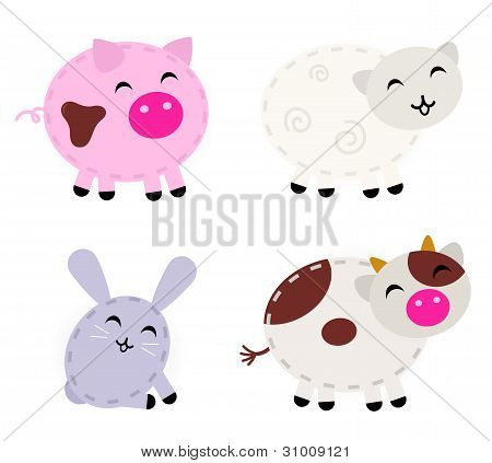 Cute Farm Animals Set Isolated On White