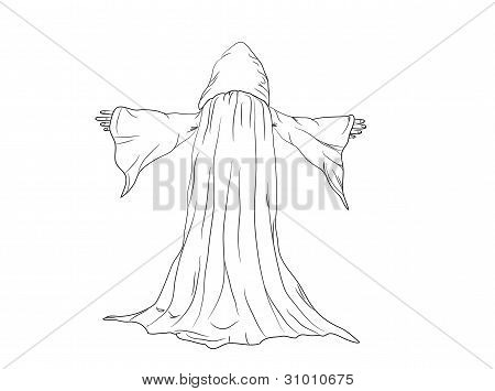 outline vector illustration of a wizard or monk