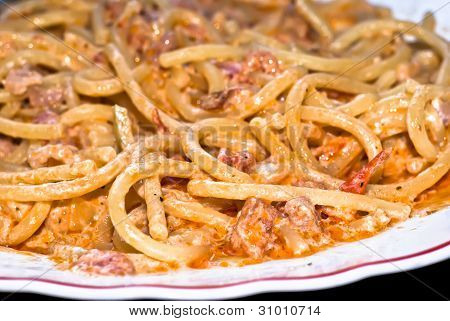 Pasta- Spaghetti With Cream And Bacon.