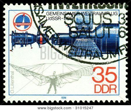 Vintage  Postage Stamp. Salyut - Soyuz Spase Station.