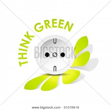 Energy icon outlet - electricity eco concept against white background