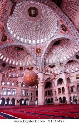 Interior view of Kocatepe Mosque in Ankara, Turkey