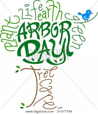 Text Illustration Celebrating Arbor Day