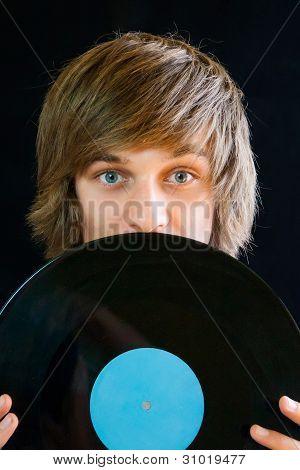 Man with vinyl record