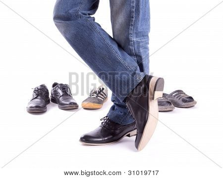 Men's feet in new shoes