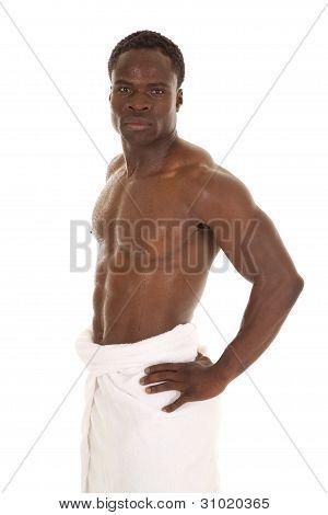 Man Stand Wet Towel