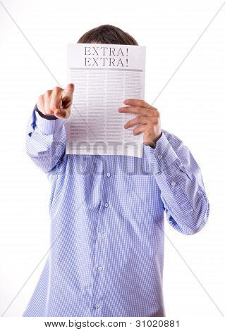 Man Reading A Newspaper With Inscription Extra!