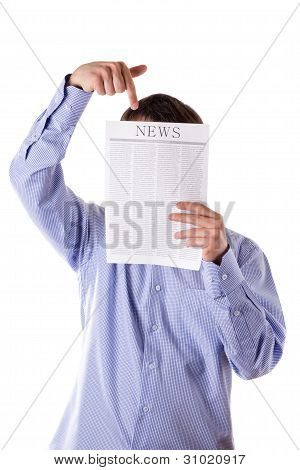Man Reading A Newspaper With Inscription News