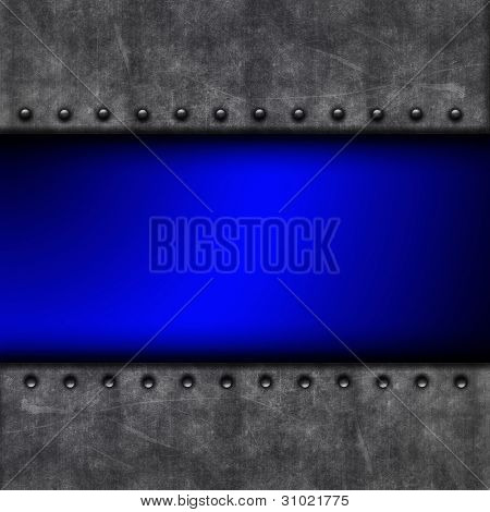Grunge background with concrete texture and rivets and bright blue colour