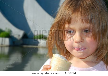 Girl Eating Ice-Cream Outdoors
