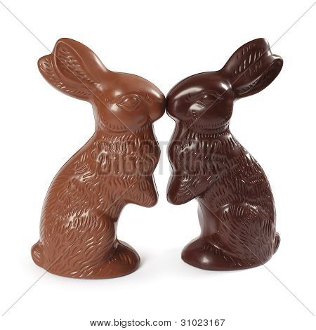 Chocolate Easter Bunnies Kissing