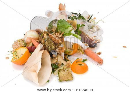 Assortment of kitchen waste waiting to be composted isolated over white background.