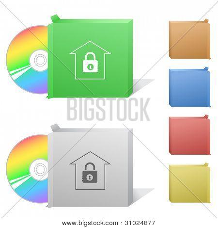 Bank. Box with compact disc. Raster illustration. Vector version is in my portfolio.