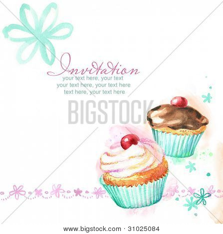 card with painted watercolor cupcake