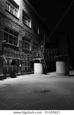 Dark Alley, Factory Backyard, Black And White