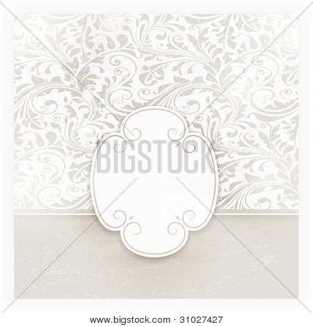 Invitation, anniversary card with label for your personalized text in shades of subtle off-whites and beige with a delicate seamless floral pattern in the background and grunge elements.