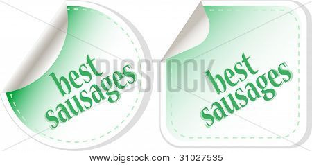 Best Sausages Green Food Stickers Set