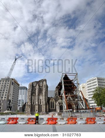 Christchurch Anglican Cathedral Destroyed by Earthquake, New Zealand