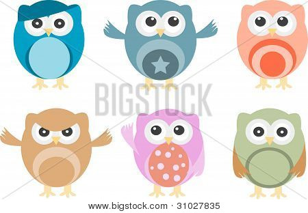 Set Of Six Cartoon Owls With Various Emotions