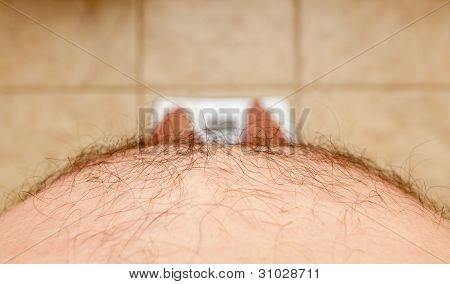Hairy Man Stomach Overhangs Feet On Scales
