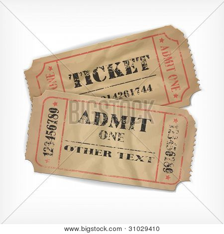 it is realistic executed vector old tickets, with possibility to edit the text and figures (the effect of old times and an attrition, rumpled remains)