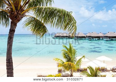 Overwater Bungalows In The Lagoon