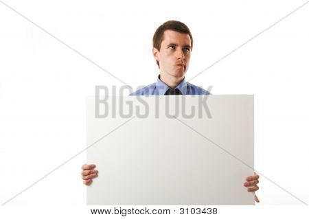 Business Man On Blue Shirt Holding A Billboard