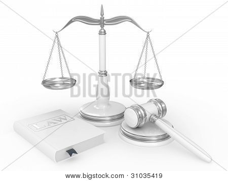 Legal Gavel, Scales And Law Book