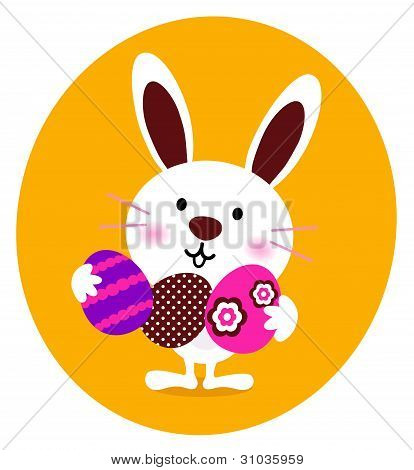 Cute Bunny Holding Easter Eggs