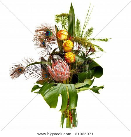 male bouquet with peacock feathers