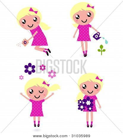 Cute Little Child With Spring Flowers