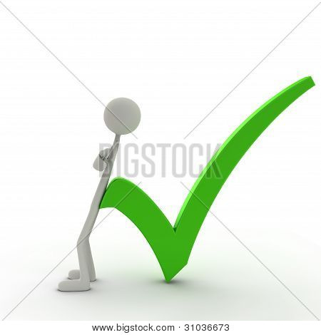 Figure Lean Against A Check Mark