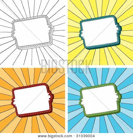 Doodle frame with sunbeam radial background