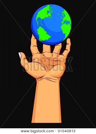 Hand Grasping The World