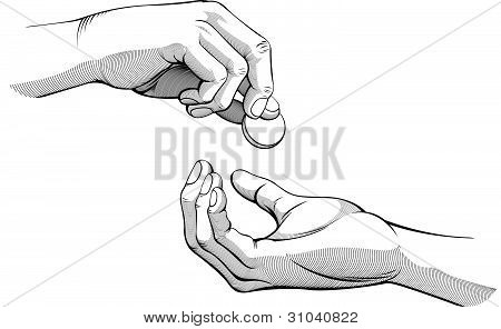 Hands Giving & Receiving Coin Of Money_black & White