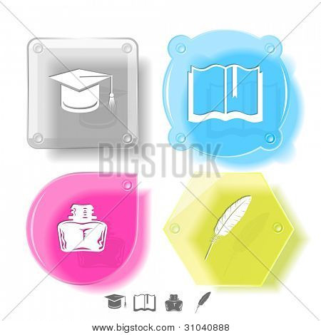 Education icon set. Graduation cap, book, inkstand, feather. Glass buttons. Vector illustration. Eps10.