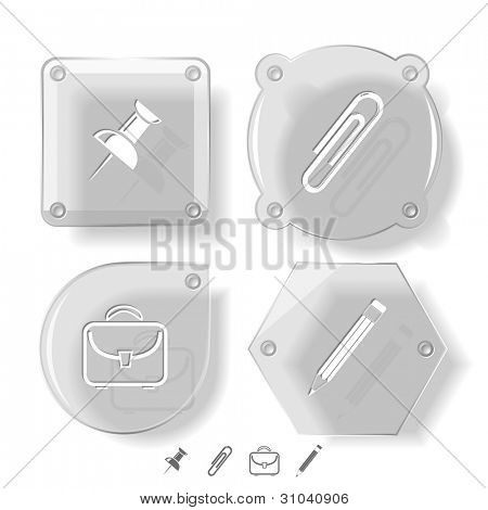 Business icon set. Pencil, clip, briefcase, push pin.  Glass buttons. Vector illustration. Eps10.