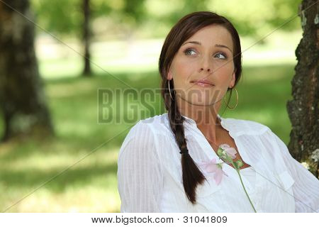 Woman daydreaming about her lover