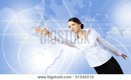 Woman against technology background