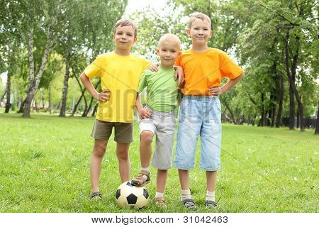 Boys in the park with a ball