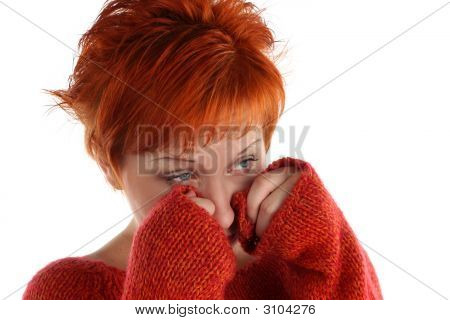 Sad Red Haired Woman Isolated On White Background