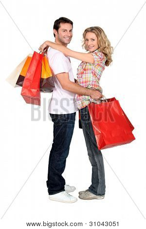 Couple with store bags