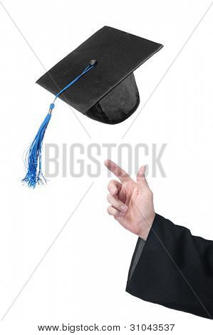 A student of education throws up his graduation cap in celebration.  Designer can use just the cap or the hand if they so choose.