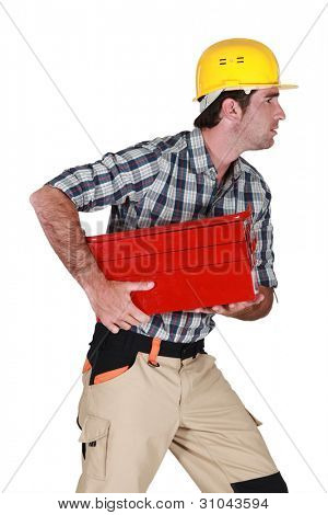 craftsman running and holding a toolbox