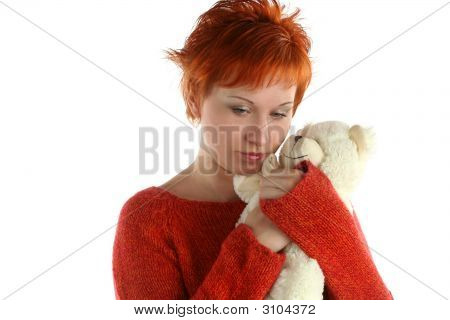 Sad Woman With Teddy Bear Isolated On White Background