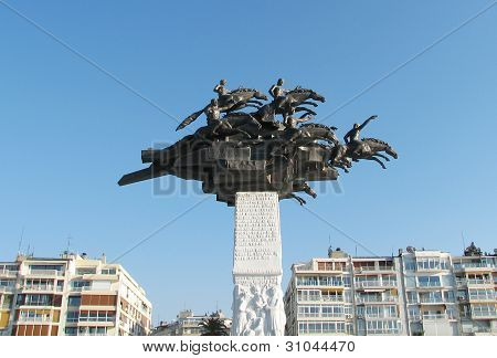 Monument on Gundogdu square at Izmir,Turkey