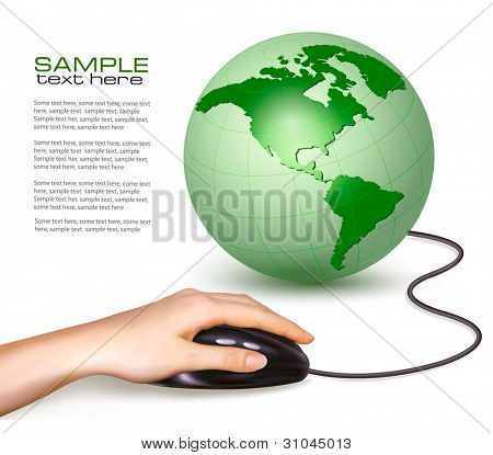 Hand with computer mouse and green globe. Vector illustration.