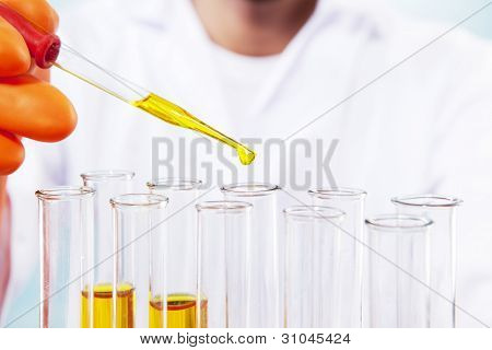 Close Up Of Scientist Working