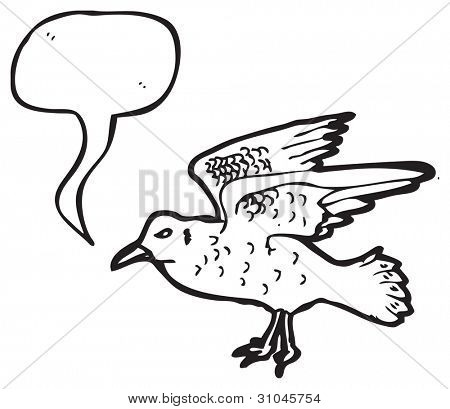 illustration of a seagull squawking